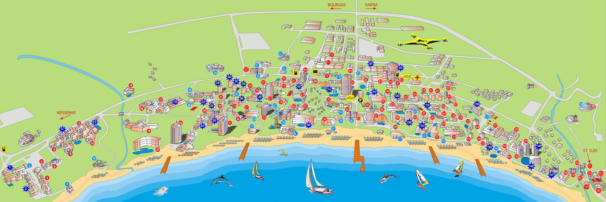 Sunny Beach Map Hotels In Bulgaria